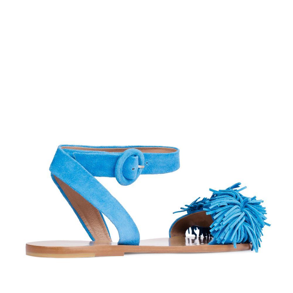 Женские сандалии CorsoComo (Корсо Комо) Сандалии из замши голубого цвета с бахромой