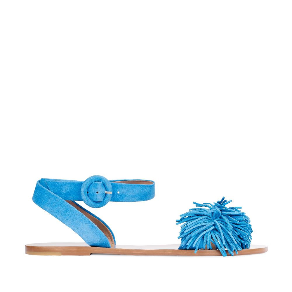 Сандалии из замши голубого цвета с бахромойСандалииженские<br><br>Материал верха: Замша<br>Материал подкладки: Кожа<br>Материал подошвы: Тунит<br>Цвет: Голубой<br>Высота каблука: 0 см<br>Дизайн: Италия<br>Страна производства: Китай<br><br>Высота каблука: 0 см<br>Материал верха: Замша<br>Материал подошвы: Тунит<br>Материал подкладки: Кожа<br>Цвет: Голубой<br>Вес кг: 1.00000000<br>Размер: 35