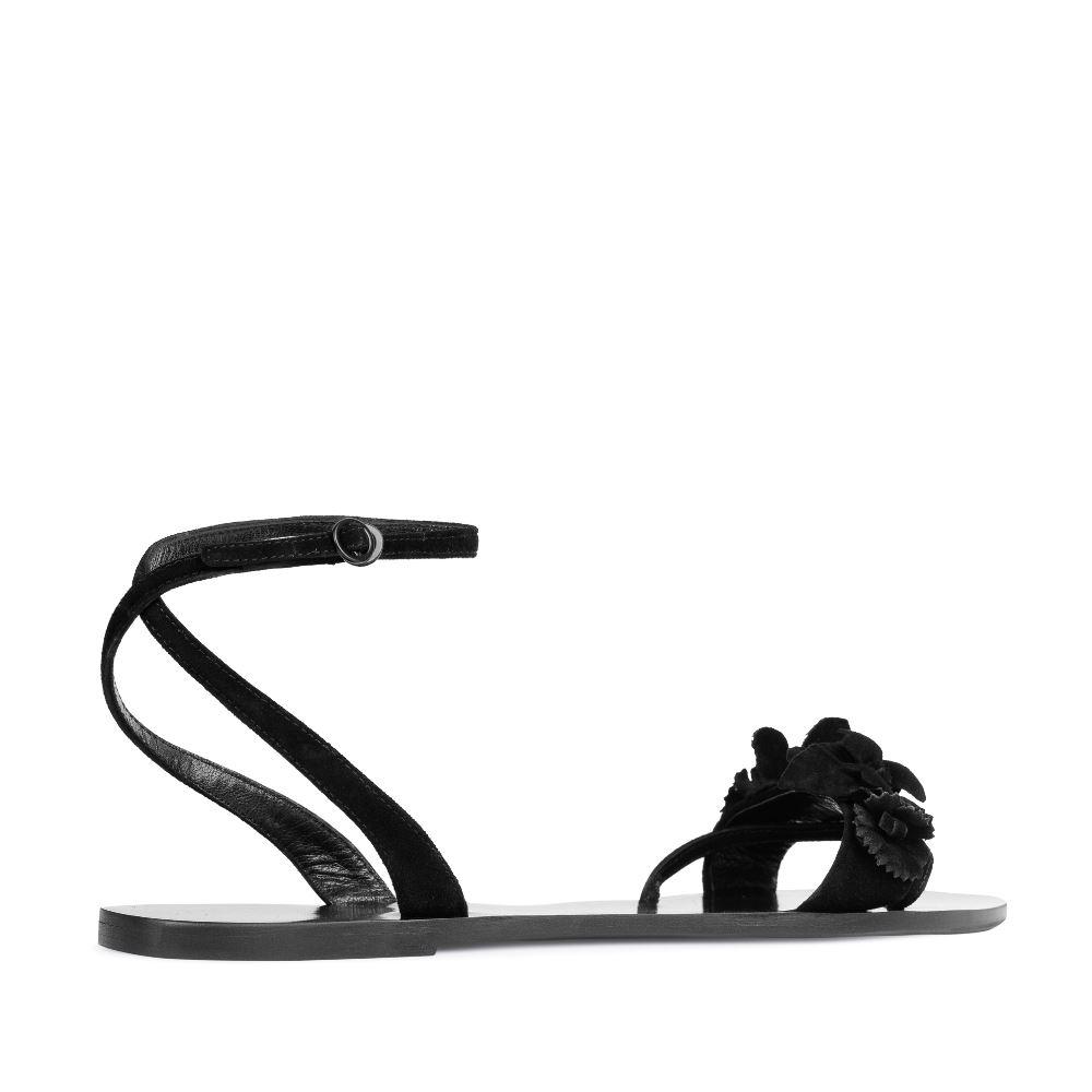 Женские сандалии CorsoComo (Корсо Комо) Сандалии из замши черного цвета с аппликацией