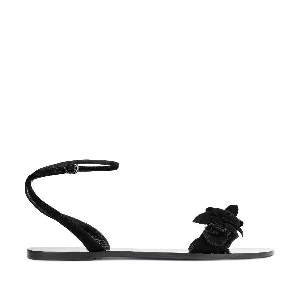 Сандалии из замши черного цвета с аппликацией 17-005-01-49-15