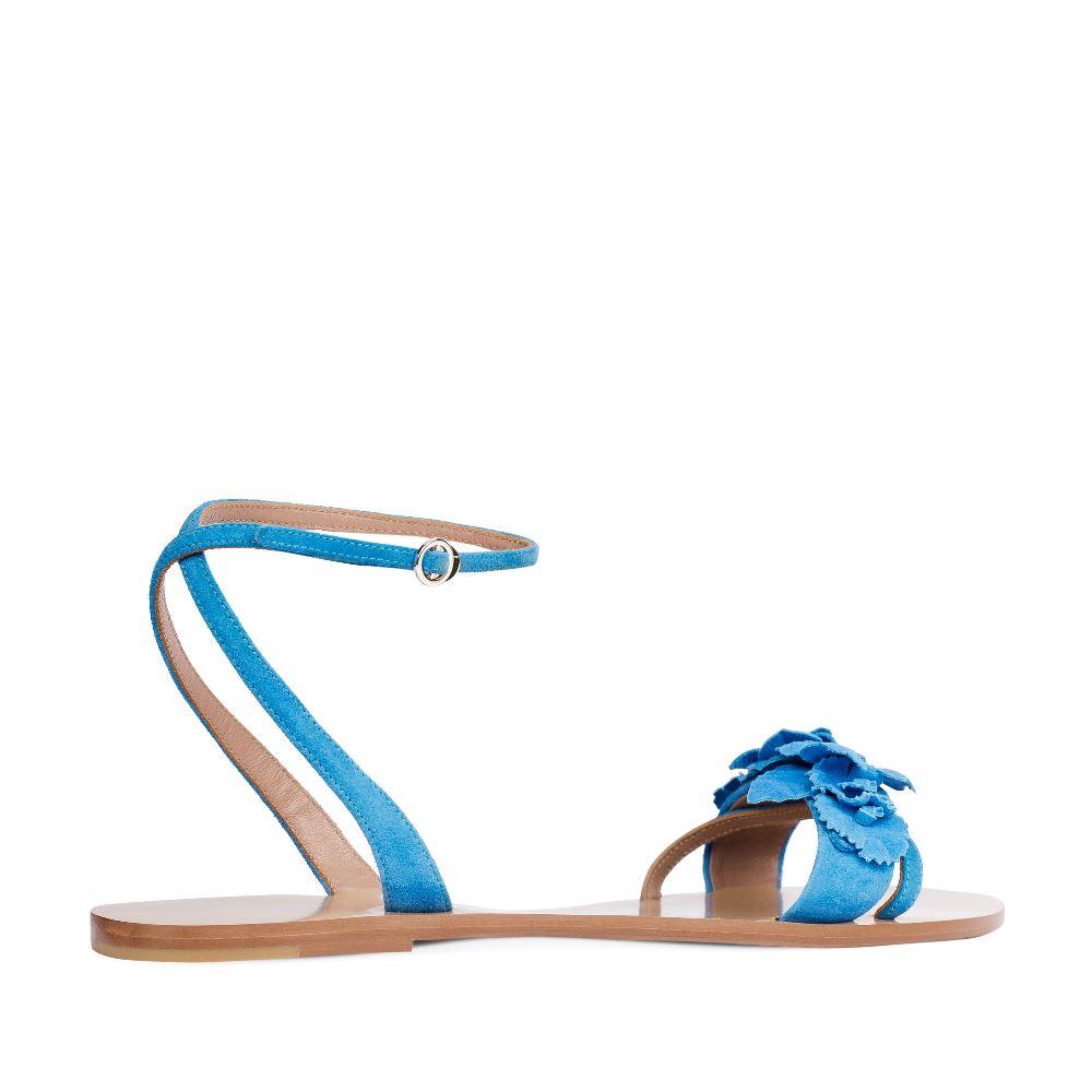 Женские сандалии CorsoComo (Корсо Комо) Сандалии из замши голубого цвета с аппликацией