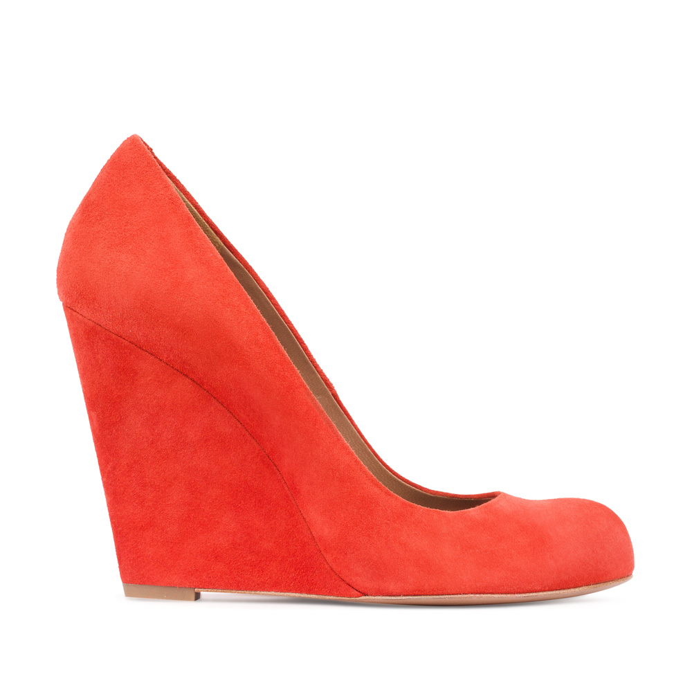 Туфли из замши оранжевого цвета на танкетке