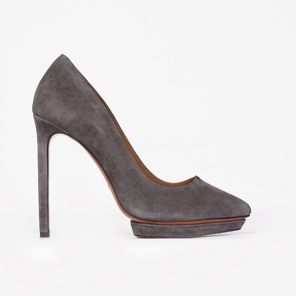 Туфли из замши дымчато-серого цвета на высоком каблуке