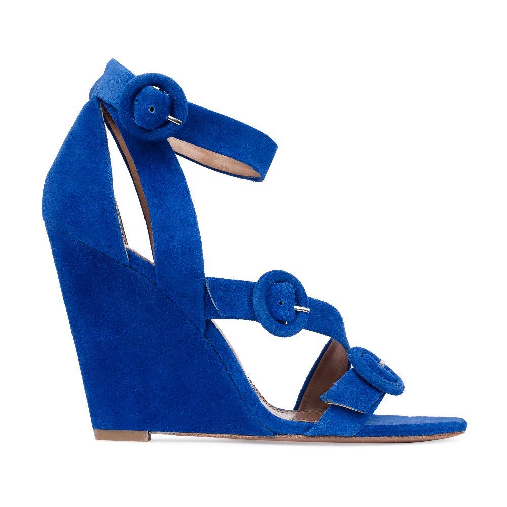 Босоножки из замши цвета электрик с ремешками на танкеткеТуфли женские<br><br>Материал верха: Замша<br>Материал подкладки: Кожа<br>Материал подошвы:Кожа<br>Цвет: Синий<br>Высота каблука: 10 см<br>Дизайн: Италия<br>Страна производства: Китай<br><br>Высота каблука: 10 см<br>Материал верха: Замша<br>Материал подошвы: Кожа<br>Материал подкладки: Кожа<br>Цвет: Синий<br>Вес кг: 1.00000000<br>Размер: 39