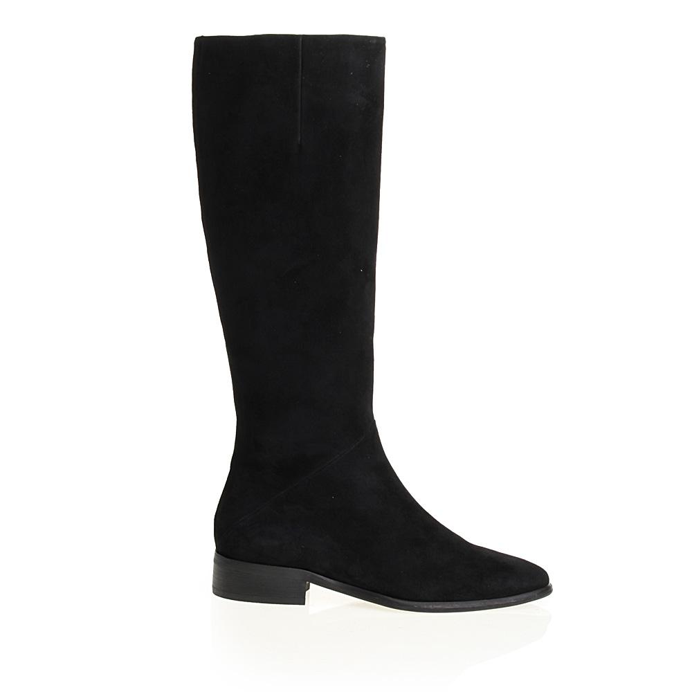 CORSOCOMO Замшевые сапоги черного цвета на низком каблуке 17-162-02-35