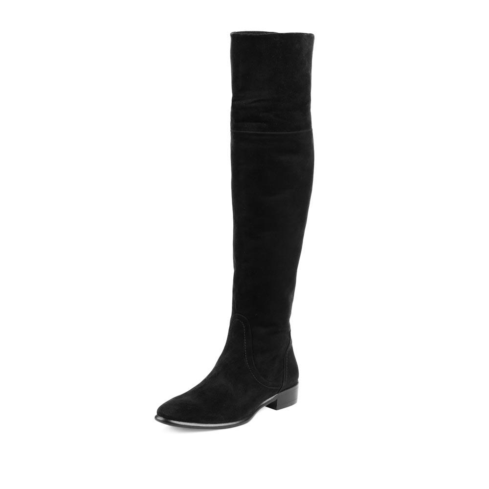 Сапоги на плоской подошве CorsoComo (Корсо Комо) Ботфорты из замши черного цвета на низком каблуке