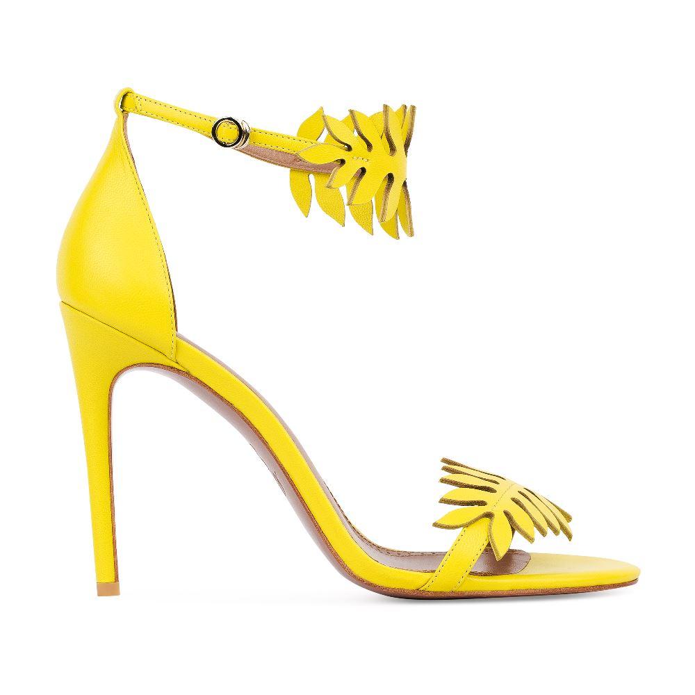 Босоножки из кожи с декоративными вставками желтого цветаТуфли ремешковые<br><br>Материал верха: Кожа<br>Материал подкладки: Кожа<br>Материал подошвы: Кожа<br>Цвет: Желтый<br>Высота каблука: 10 см<br>Дизайн: Италия<br>Страна производства: Китай<br><br>Высота каблука: 10 см<br>Материал верха: Кожа<br>Материал подкладки: Кожа<br>Цвет: Желтый<br>Пол: Женский<br>Вес кг: 390.00000000<br>Размер: 38.5