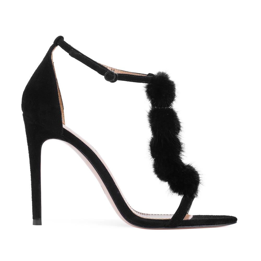 Босоножки из замши черного цвета с декоративным мехомТуфли женские<br><br>Материал верха: Замша<br>Материал подкладки: Кожа<br>Материал подошвы:Кожа<br>Цвет: Черный<br>Высота каблука: 10 см<br>Дизайн: Италия<br>Страна производства: Китай<br><br>Высота каблука: 10 см<br>Материал верха: Замша<br>Материал подошвы: Кожа<br>Материал подкладки: Кожа<br>Цвет: Черный<br>Вес кг: 1.00000000<br>Размер: 38.5