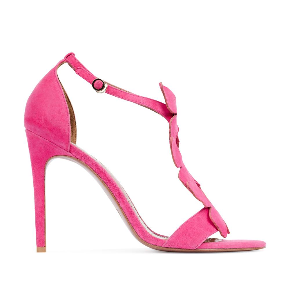 Босоножки из замши розового цвета с аппликациейТуфли женские<br><br>Материал верха: Замша<br>Материал подкладки: Кожа<br>Материал подошвы:Кожа<br>Цвет: Розовый<br>Высота каблука: 10 см<br>Дизайн: Италия<br>Страна производства: Китай<br><br>Высота каблука: 10 см<br>Материал верха: Замша<br>Материал подошвы: Кожа<br>Материал подкладки: Кожа<br>Цвет: Розовый<br>Вес кг: 1.00000000<br>Выберите размер обуви: 37.5