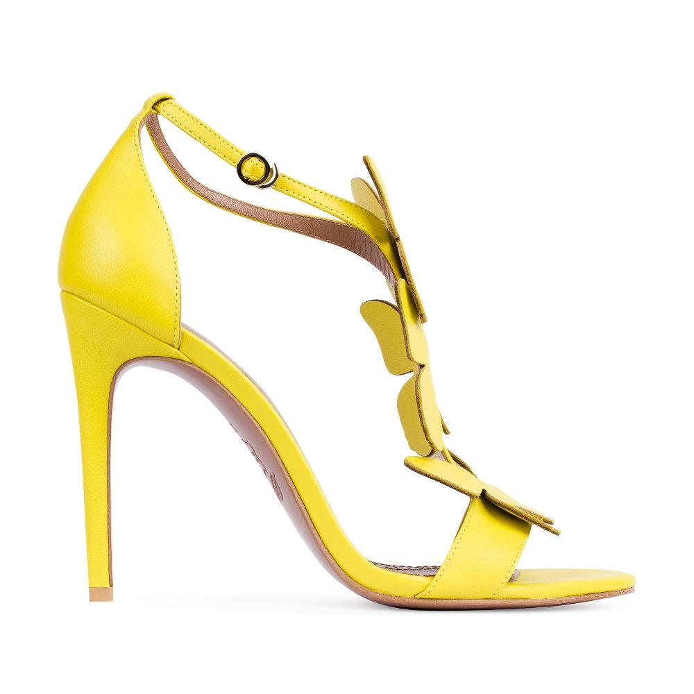 Босоножки из кожи желтого цвета с аппликациейТуфли женские<br><br>Материал верха: Кожа<br>Материал подкладки: Кожа<br>Материал подошвы:Кожа<br>Цвет: Желтый<br>Высота каблука: 10 см<br>Дизайн: Италия<br>Страна производства: Китай<br><br>Высота каблука: 10 см<br>Материал верха: Кожа<br>Материал подошвы: Кожа<br>Материал подкладки: Кожа<br>Цвет: Желтый<br>Вес кг: 1.00000000<br>Размер: 38.5