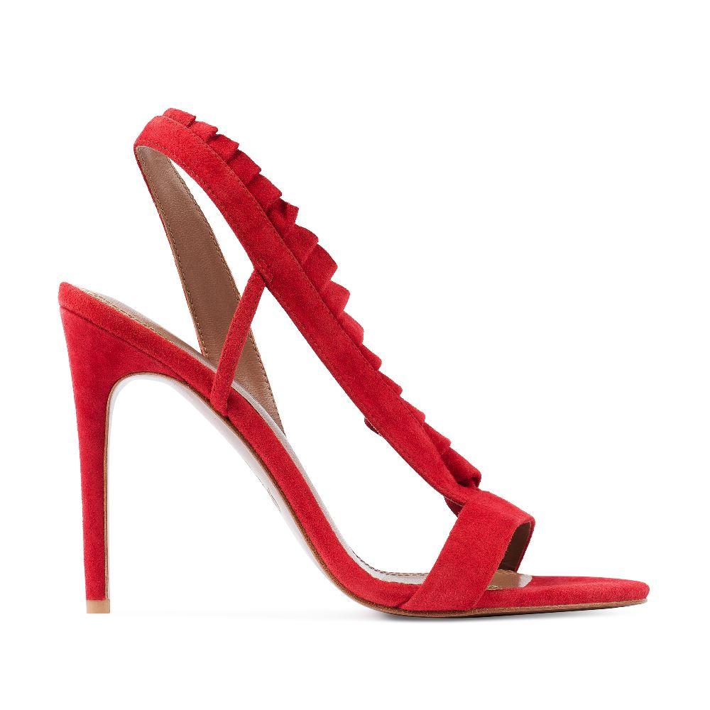 Босоножки из замши красного цвета с оборкамиТуфли женские<br><br>Материал верха: Замша<br>Материал подкладки: Кожа<br>Материал подошвы: Кожа<br>Цвет: Красный<br>Высота каблука: 10 см<br>Дизайн: Италия<br>Страна производства: Китай<br><br>Высота каблука: 10 см<br>Материал верха: Замша<br>Материал подкладки: Кожа<br>Цвет: Красный<br>Вес кг: 1.00000000<br>Размер: 39