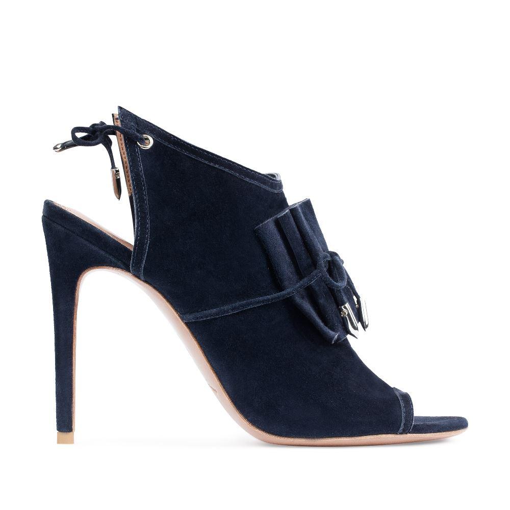 Замшевые босоножки синего цвета на высоком каблуке