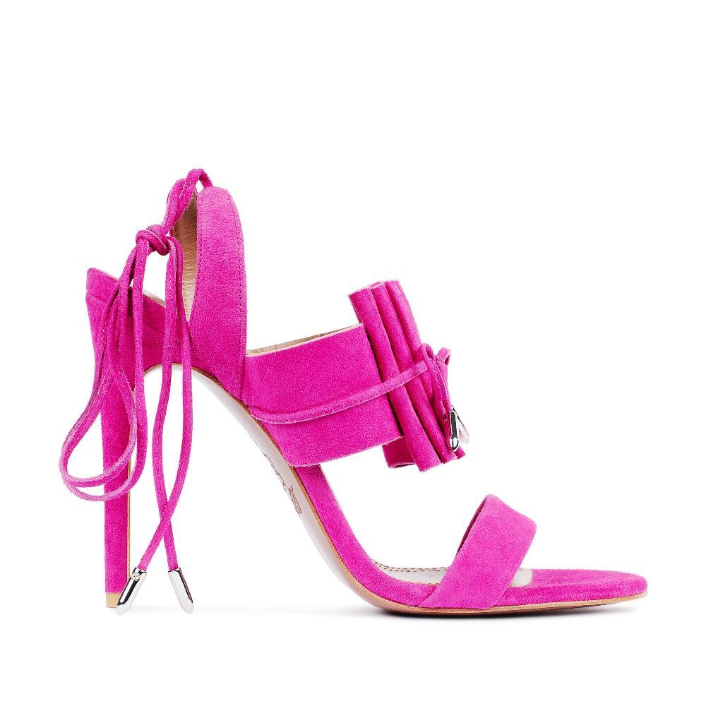 Босоножки из замши цвета фуксии на завязкахТуфли женские<br><br>Материал верха: Замша<br>Материал подкладки: Кожа<br>Материал подошвы:Кожа<br>Цвет: Розовый<br>Высота каблука: 10 см<br>Дизайн: Италия<br>Страна производства: Китай<br><br>Высота каблука: 10 см<br>Материал верха: Замша<br>Материал подкладки: Кожа<br>Цвет: Розовый<br>Вес кг: 1.00000000<br>Размер: 38