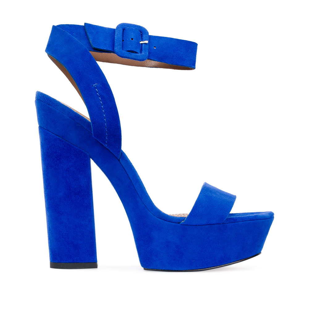 Замшевые босоножки цвета электрик на устойчивом каблукеБосоножки женские<br><br>Материал верха: Замша<br>Материал подкладки: Кожа<br>Материал подошвы: Кожа<br>Цвет: Синий<br>Высота каблука: 14 см<br>Дизайн: Италия<br>Страна производства: Китай<br><br>Высота каблука: 14 см<br>Материал верха: Замша<br>Материал подкладки: Кожа<br>Цвет: Синий<br>Вес кг: 0.71600000<br>Выберите размер обуви: 39