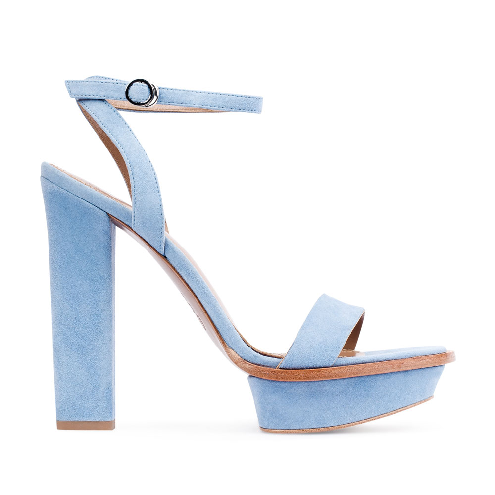 Замшевые босоножки небесно-голубого цвета на высоком устойчивом каблуке