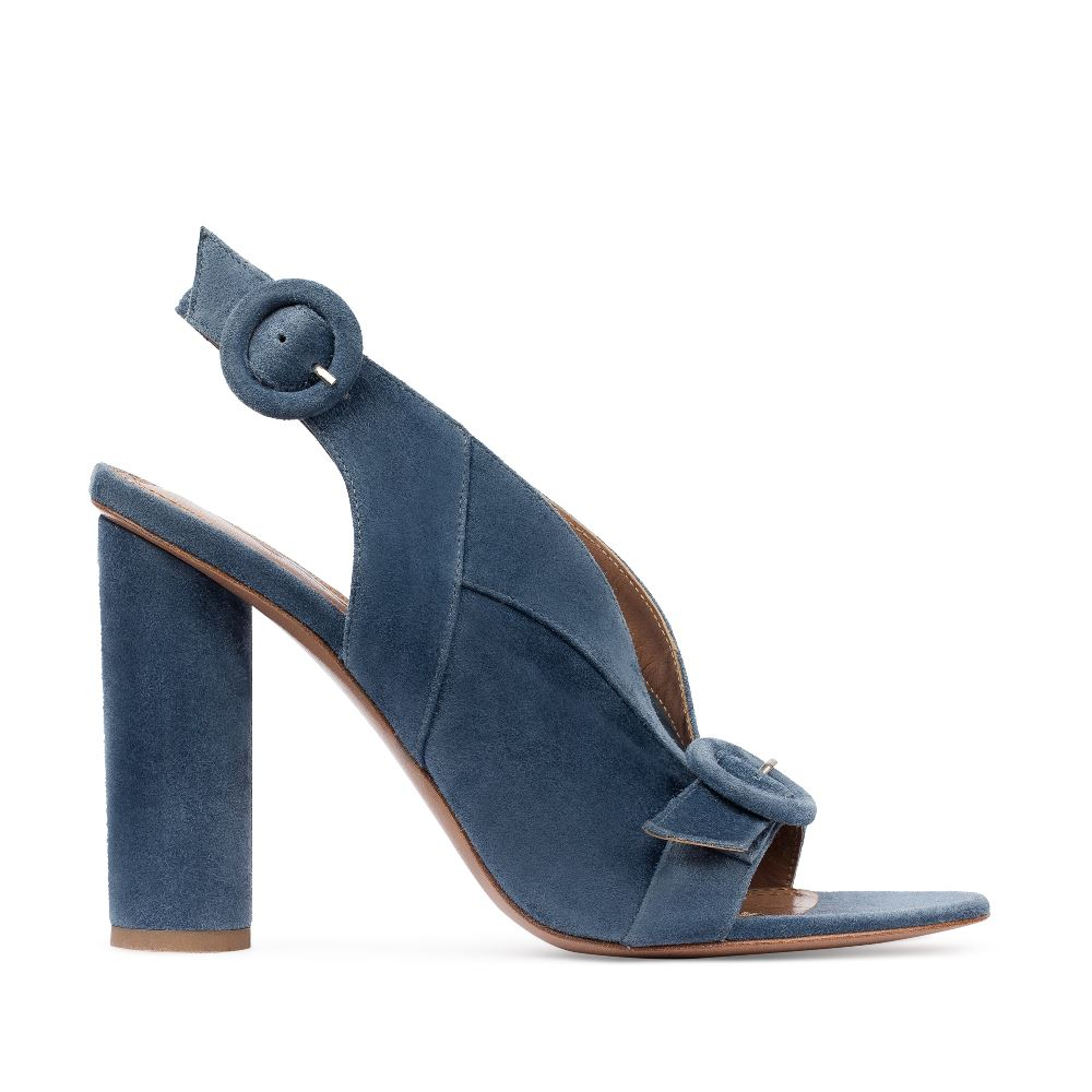 Босоножки из замши пепельно-голубого цвета на устойчивом каблуке