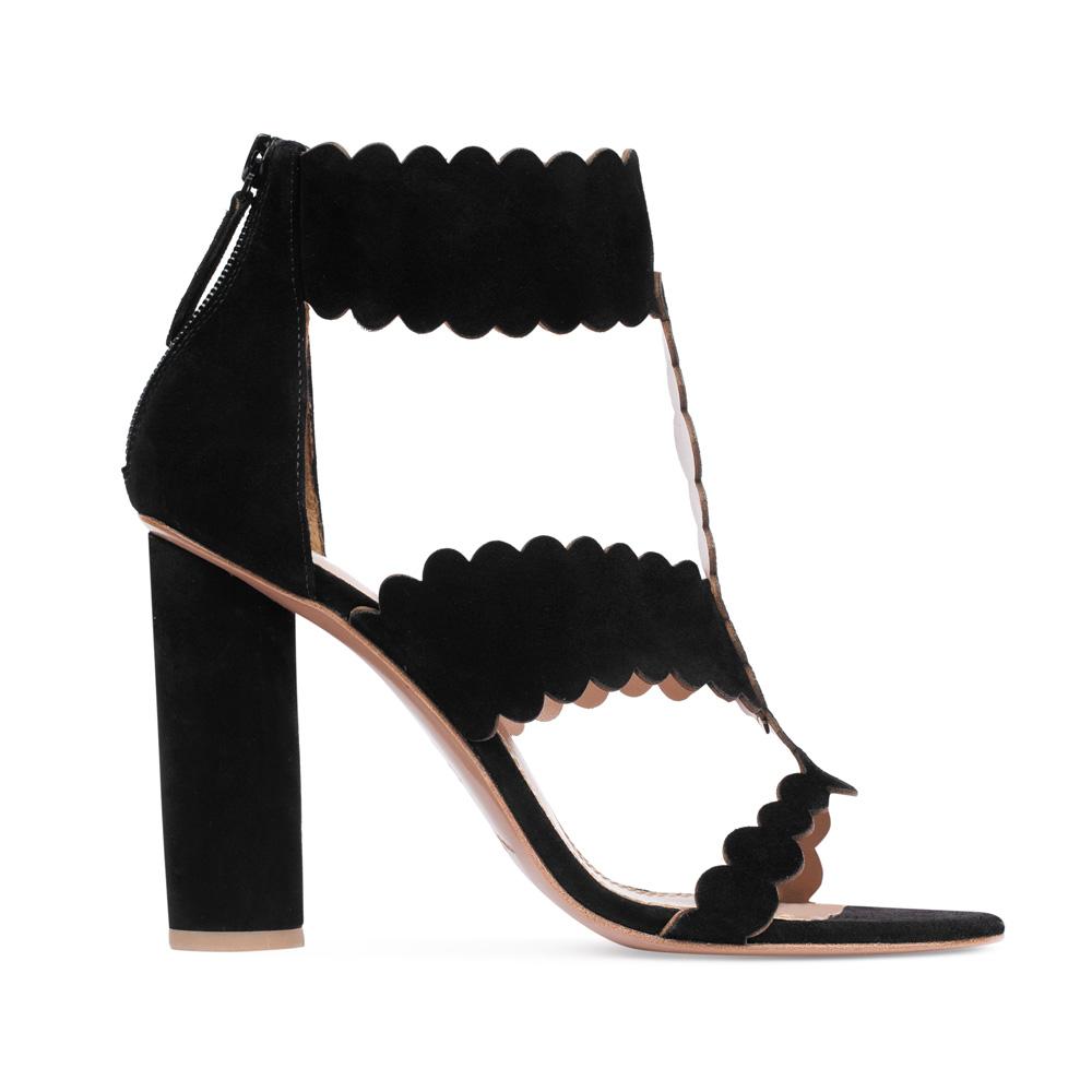 Босоножки из замши черного цвета на устойчивом каблуке