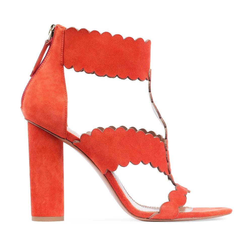 Босоножки из замши оранжевого цвета на устойчивом каблуке