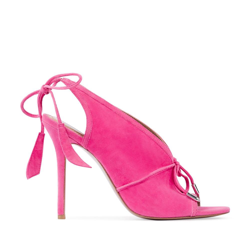 Замшевые босоножки розового цвета на завязкахТуфли женские<br><br>Материал верха: Замша<br>Материал подкладки: Кожа<br>Материал подошвы:Кожа<br>Цвет: Розовый<br>Высота каблука: 10 см<br>Дизайн: Италия<br>Страна производства: Китай<br><br>Высота каблука: 10 см<br>Материал верха: Замша<br>Материал подошвы: Кожа<br>Материал подкладки: Кожа<br>Цвет: Розовый<br>Вес кг: 1.00000000<br>Размер: 36