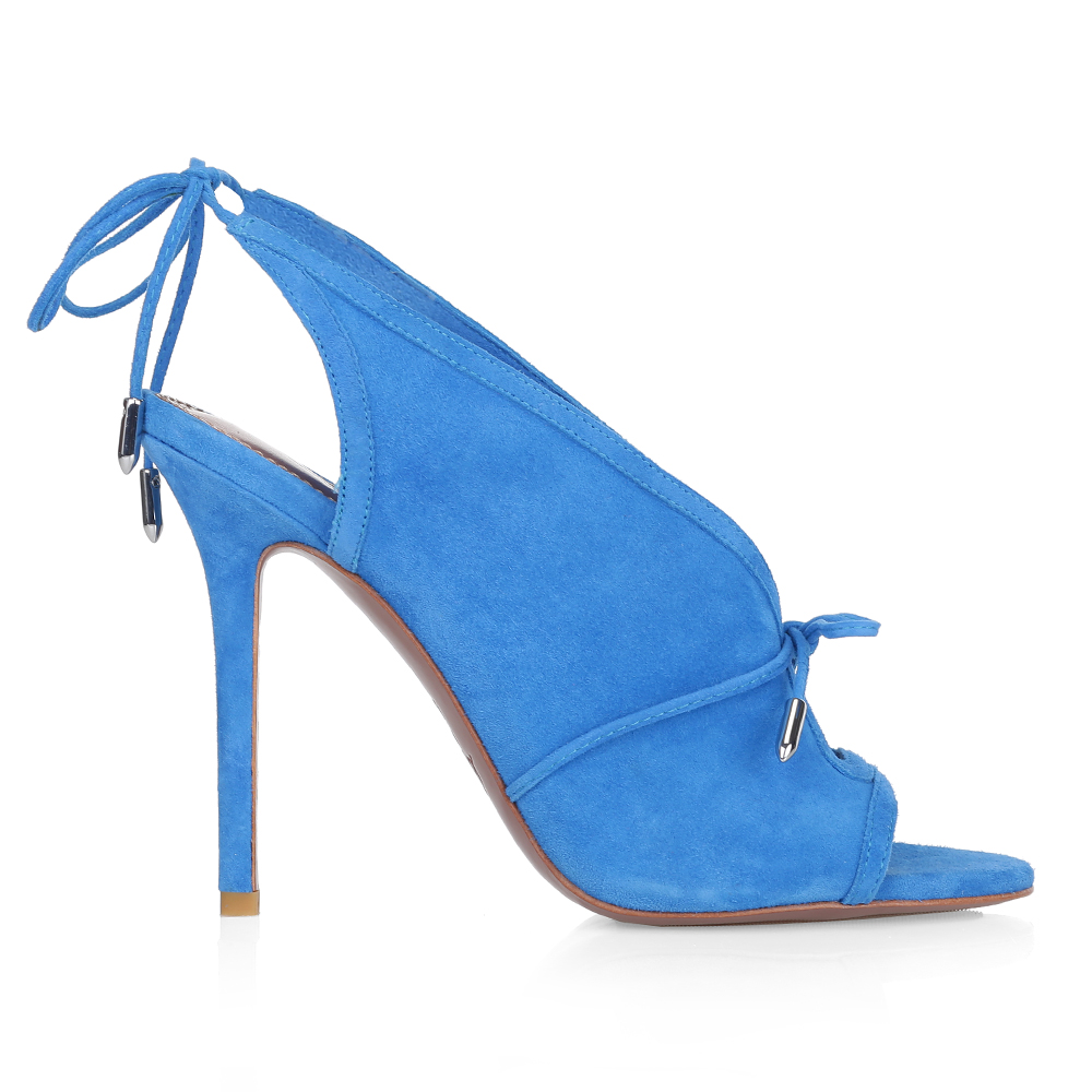 Замшевые босоножки голубого цвета на завязках