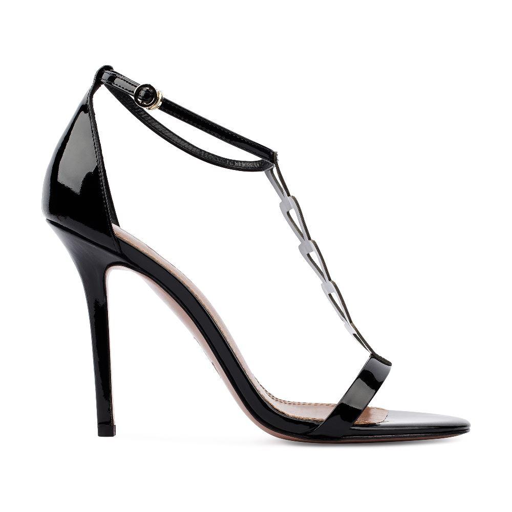 Босоножки из лакированной кожи черного цветаТуфли женские<br><br>Материал верха: Лакированная кожа<br>Материал подкладки: Кожа<br>Материал подошвы:Кожа<br>Цвет: Черный<br>Высота каблука: 10 см<br>Дизайн: Италия<br>Страна производства: Китай<br><br>Высота каблука: 10 см<br>Материал верха: Лакированная кожа<br>Материал подошвы: Кожа<br>Материал подкладки: Кожа<br>Цвет: Черный<br>Вес кг: 1.00000000<br>Размер: 38.5