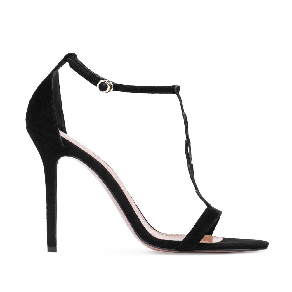 Босоножки из замши черного цветаТуфли женские<br><br>Материал верха: Замша<br>Материал подкладки: Кожа<br>Материал подошвы:Кожа<br>Цвет: Черный<br>Высота каблука: 10 см<br>Дизайн: Италия<br>Страна производства: Китай<br><br>Высота каблука: 10 см<br>Материал верха: Замша<br>Материал подошвы: Кожа<br>Материал подкладки: Кожа<br>Цвет: Черный<br>Вес кг: 1.00000000<br>Выберите размер обуви: 38.5