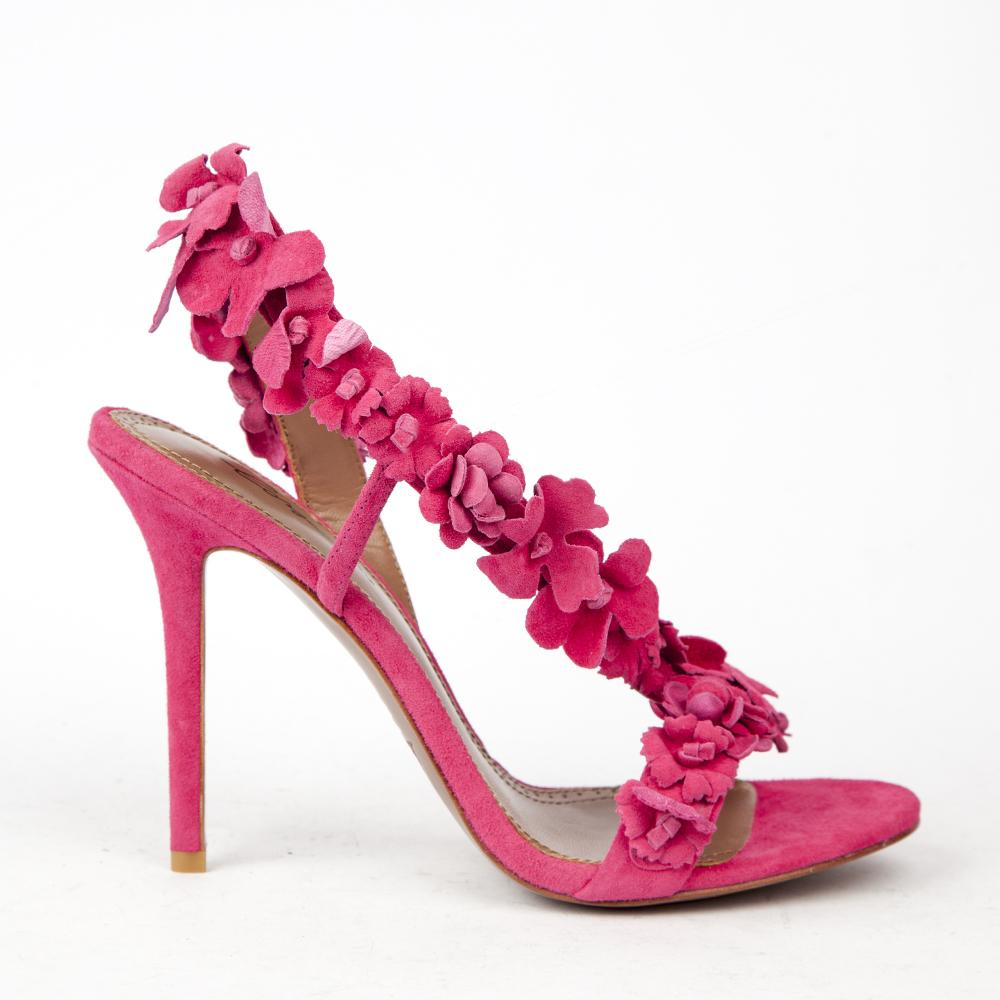 Босоножки из замши розового цвета с аппликациейТуфли ремешковые<br><br>Материал верха: Замша<br>Материал подкладки: Кожа<br>Материал подошвы: Кожа<br>Цвет: Розовый<br>Высота каблука: 10 см<br>Дизайн: Италия<br>Страна производства: Китай<br><br>Высота каблука: 10 см<br>Материал верха: Замша<br>Материал подкладки: Кожа<br>Цвет: Розовый<br>Пол: Женский<br>Вес кг: 390.00000000<br>Размер: 38