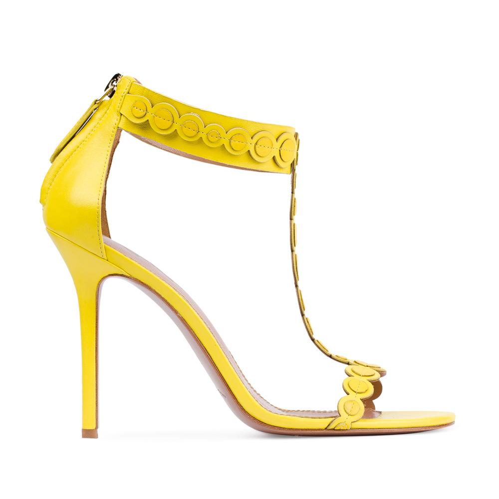 Босоножки из кожи желтого цвета на молнииБосоножки женские<br><br>Материал верха: Кожа<br>Материал подкладки: Кожа<br>Материал подошвы:Кожа<br>Цвет: Желтый<br>Высота каблука: 10 см<br>Дизайн: Италия<br>Страна производства: Китай<br><br>Высота каблука: 10 см<br>Материал верха: Кожа<br>Материал подошвы: Кожа<br>Материал подкладки: Кожа<br>Цвет: Желтый<br>Вес кг: 1.00000000<br>Размер: 38