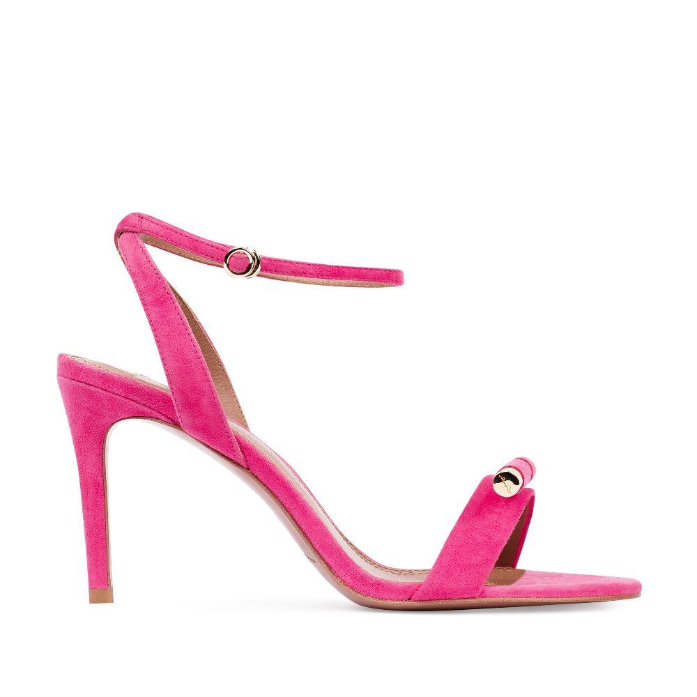 Босоножки из замши розового цвета с металлической детальюТуфли женские<br><br>Материал верха: Замша<br>Материал подкладки: Кожа<br>Материал подошвы: Кожа<br>Цвет: Розовый<br>Высота каблука: 8 см<br>Дизайн: Италия<br>Страна производства: Китай<br><br>Высота каблука: 8 см<br>Материал верха: Замша<br>Материал подошвы: Кожа<br>Материал подкладки: Кожа<br>Цвет: Розовый<br>Вес кг: 1.00000000<br>Размер: 35