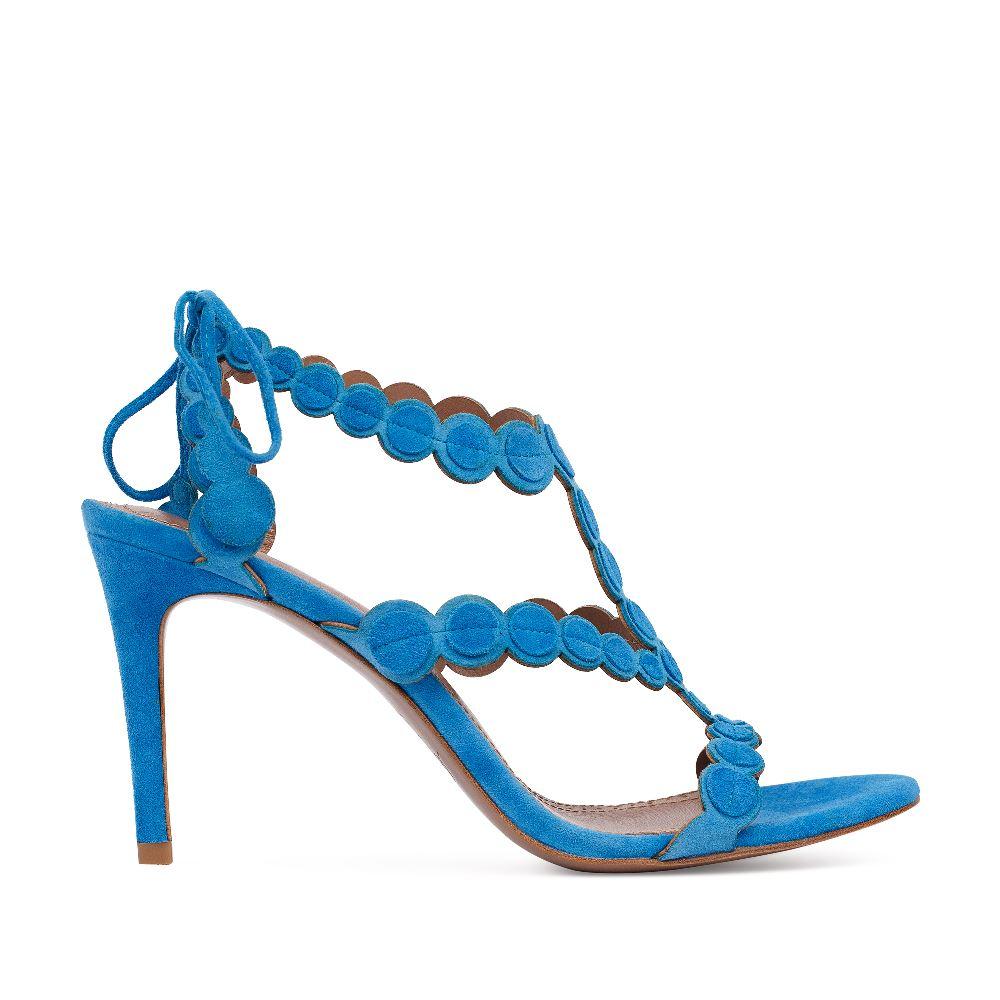 Босоножки из замши голубого цвета на завязкахТуфли ремешковые<br><br>Материал верха: Замша<br>Материал подкладки: Кожа<br>Материал подошвы: Кожа<br>Цвет: Голубой<br>Высота каблука: 8 см<br>Дизайн: Италия<br>Страна производства: Китай<br><br>Высота каблука: 8 см<br>Материал верха: Замша<br>Материал подкладки: Кожа<br>Цвет: Голубой<br>Пол: Женский<br>Вес кг: 360.00000000<br>Размер обуви: 36