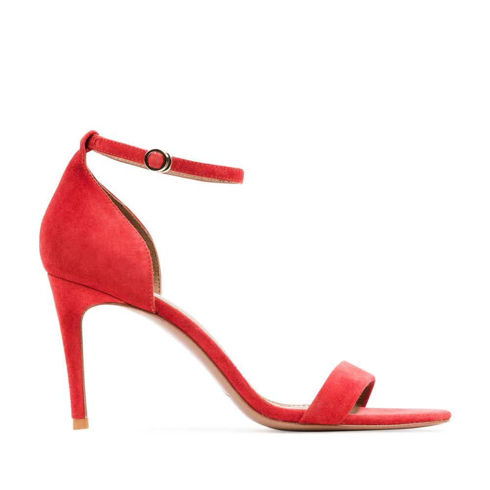 Босоножки из замши красного цвета с ремешкомТуфли женские<br><br>Материал верха: Замша<br>Материал подкладки: Кожа<br>Материал подошвы: Кожа<br>Цвет: Красный<br>Высота каблука: 9 см<br>Дизайн: Италия<br>Страна производства: Китай<br><br>Высота каблука: 9 см<br>Материал верха: Замша<br>Материал подкладки: Кожа<br>Цвет: Красный<br>Вес кг: 0.36000000<br>Размер: Без размера