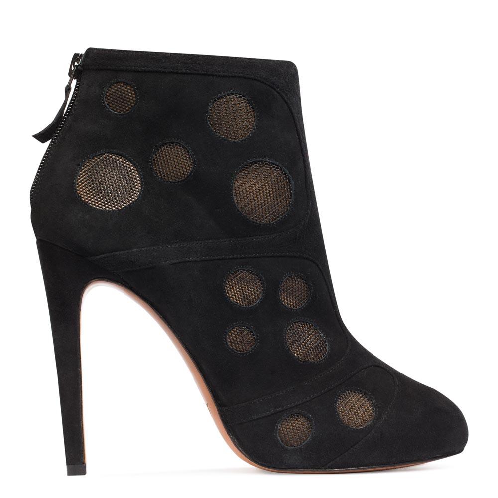 Замшевые ботильоны черного цвета на молнии с геометричными вставкамиБотинки женские<br><br>Материал верха: Замша<br>Материал подкладки: Кожа<br>Материал подошвы: Кожа<br>Цвет: Черный<br>Высота каблука: 11 см<br>Дизайн: Италия<br>Страна производства: Китай<br><br>Высота каблука: 11 см<br>Материал верха: Замша<br>Материал подкладки: Кожа<br>Цвет: Черный<br>Пол: Женский<br>Вес кг: 1.00000000<br>Выберите размер обуви: 39**