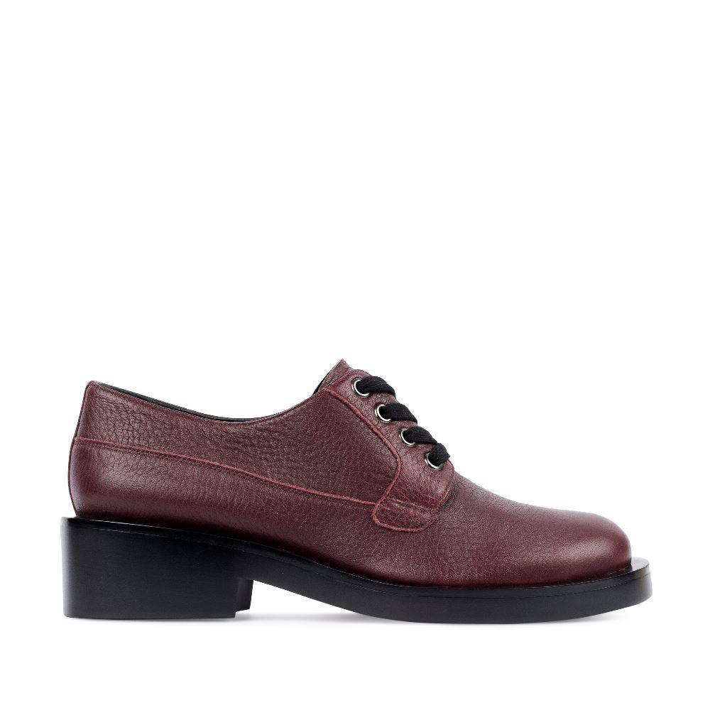 Ботинки из кожи бордового цвета на шнуровке