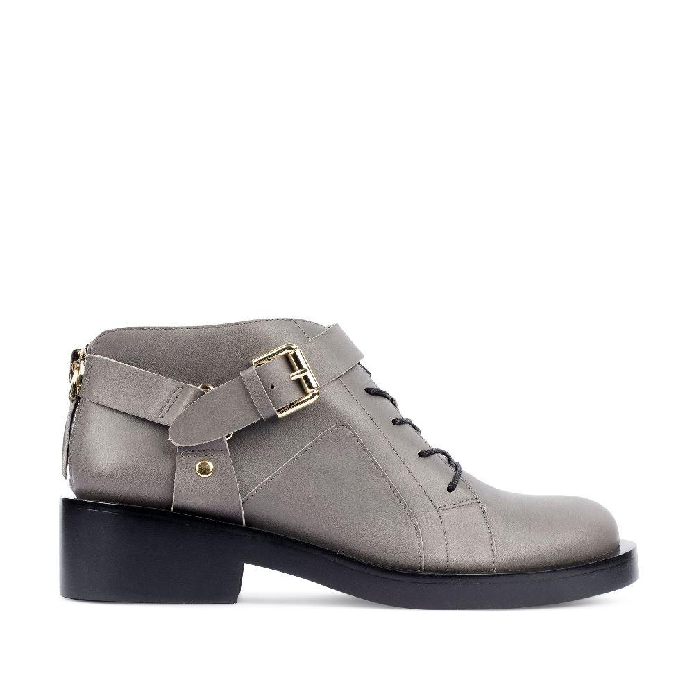 Ботинки из кожи серого цвета с ремешком, Серый