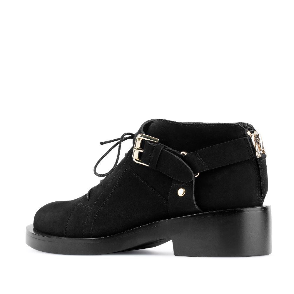 Женские ботинки CorsoComo (Корсо Комо) Ботинки из нубука черного цвета с ремешком