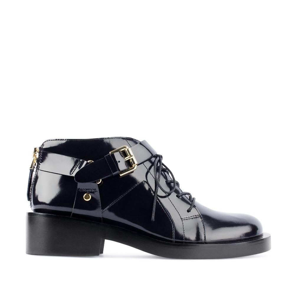 Ботинки из лакированной кожи синего цвета, Синий
