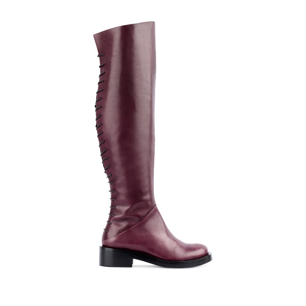 Ботфорты из кожи бордового цвета на шнуровке 17-453-01-44-35