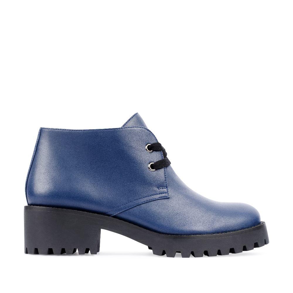 CORSOCOMO Ботинки из кожи синего цвета на протекторной подошве 17-453-02-08-231
