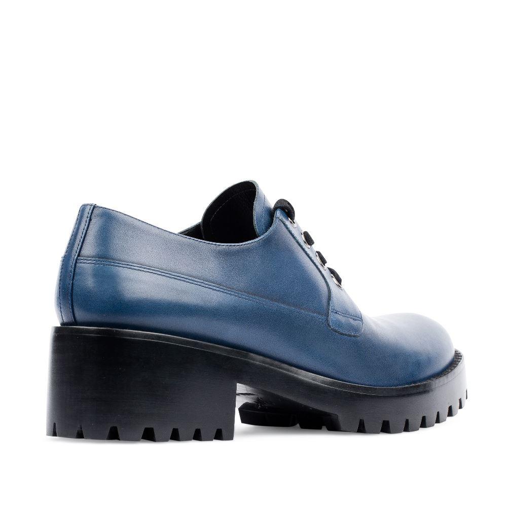 Женские ботинки CorsoComo (Корсо Комо) Дерби из кожи кобальтового цвета на протекторной подошве
