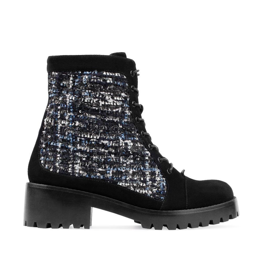Высокие ботинки на шнуровке из замши с вставками из букле 17-453-02-36-21