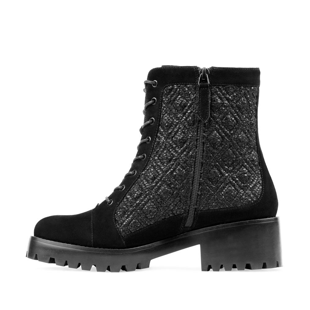 Женские ботинки CorsoComo (Корсо Комо) Ботинки из замши черного цвета на шнуровке с вставками из букле