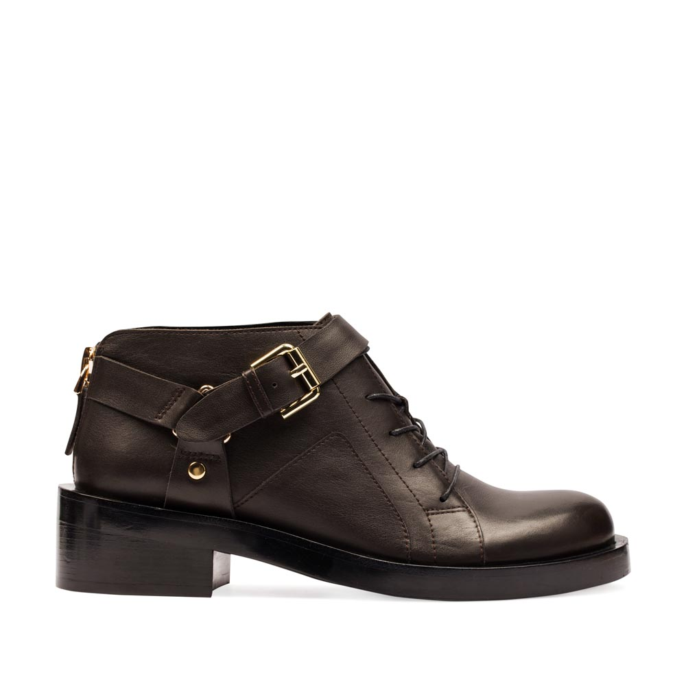 Кожаные ботинки шоколадного цвета на массивном каблуке