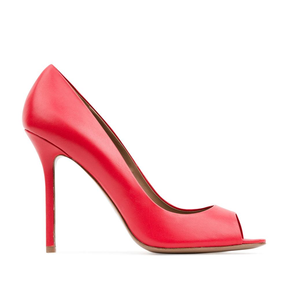 Туфли из кожи кораллового цвета с открытым мыскомТуфли женские<br><br>Материал верха: Кожа<br>Материал подкладки: Кожа<br>Материал подошвы:Кожа<br>Цвет: Красный<br>Высота каблука: 10 см<br>Дизайн: Италия<br>Страна производства: Китай<br><br>Высота каблука: 10 см<br>Материал верха: Кожа<br>Материал подошвы: Кожа<br>Материал подкладки: Кожа<br>Цвет: Красный<br>Пол: Женский<br>Вес кг: 0.38000000<br>Размер обуви: 40*