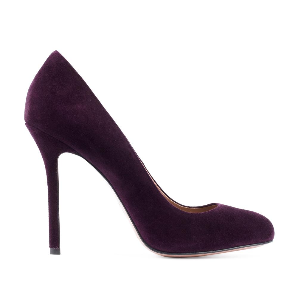 Туфли из замши аметистового цвета