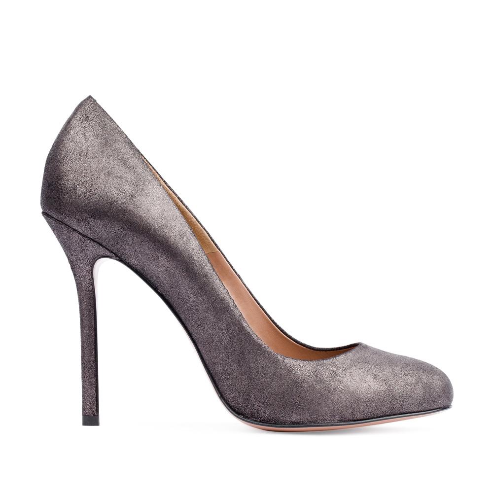 Туфли из кожи стального цвета на высоком каблукеТуфли женские<br><br>Материал верха: Кожа<br>Материал подкладки: Кожа<br>Материал подошвы: Кожа<br>Цвет: Серый<br>Высота каблука: 10 см<br>Дизайн: Италия<br>Страна производства: Китай<br><br>Высота каблука: 10 см<br>Материал верха: Кожа<br>Материал подкладки: Кожа<br>Цвет: Серый<br>Вес кг: 0.43000000<br>Размер обуви: 36