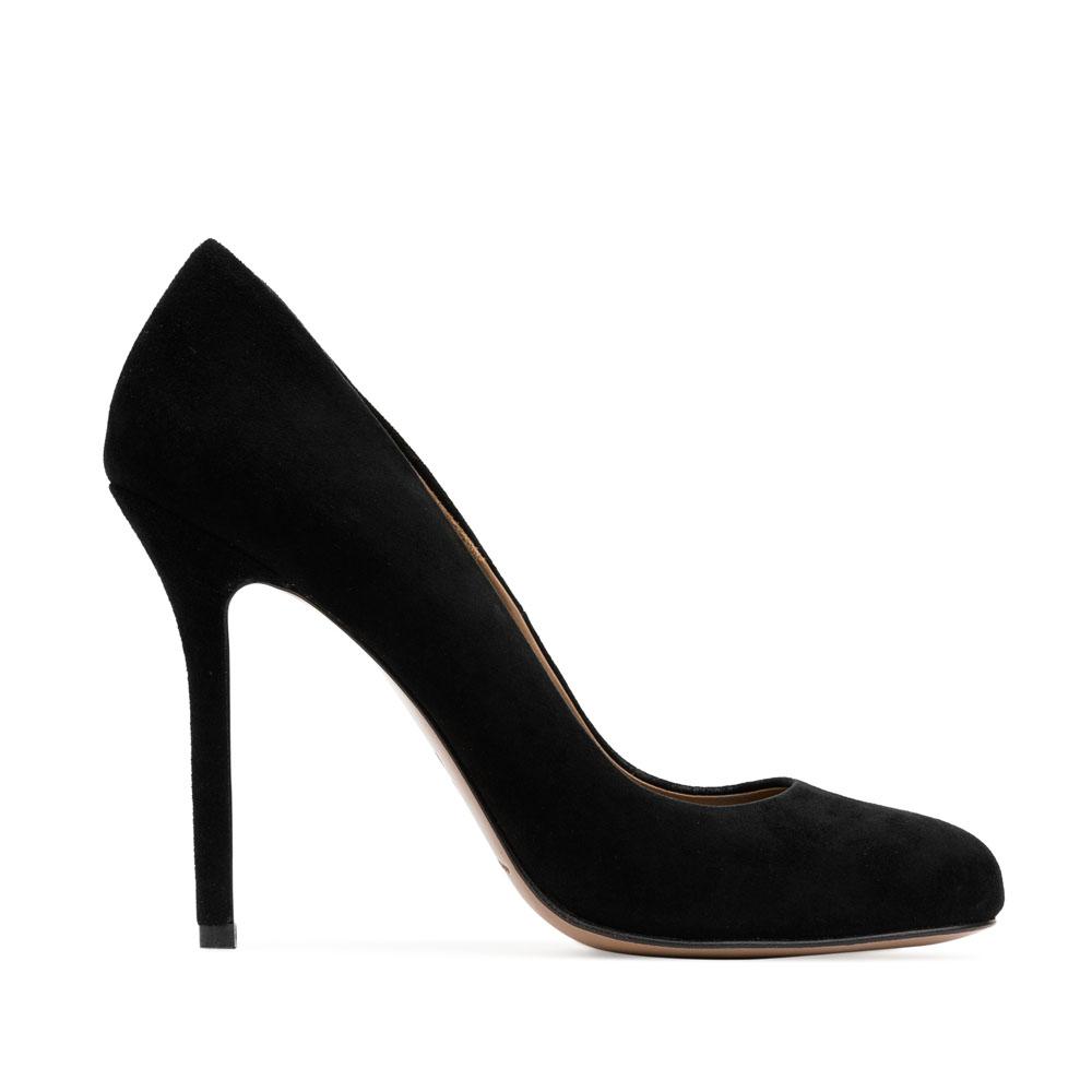 Туфли-лодочки из замши черного цвета