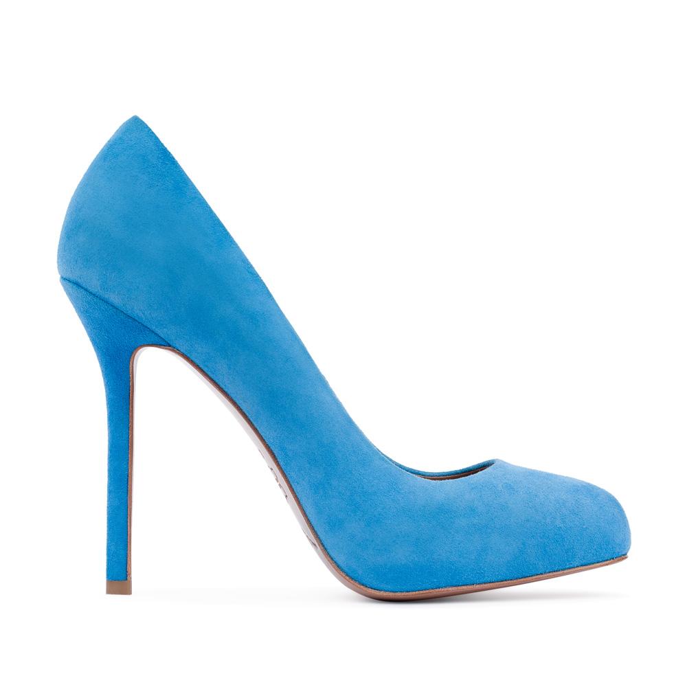 Туфли из замши голубого цвета