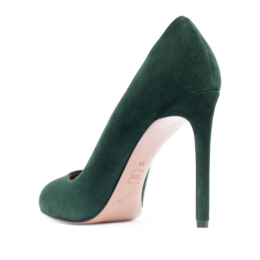 Туфли на каблуке CorsoComo (Корсо Комо) Замшевые туфли изумрудного цвета на высоком каблуке