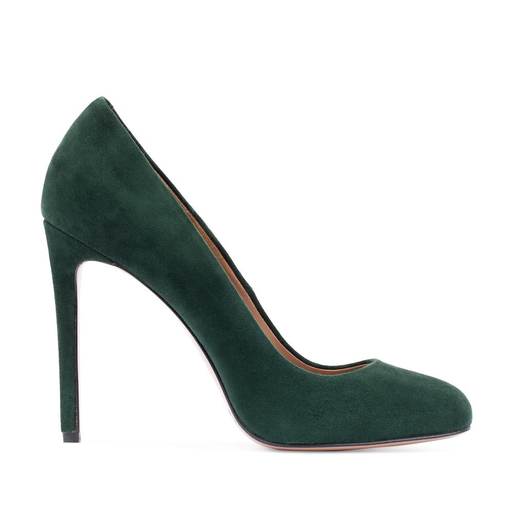 Замшевые туфли изумрудного цвета на высоком каблуке