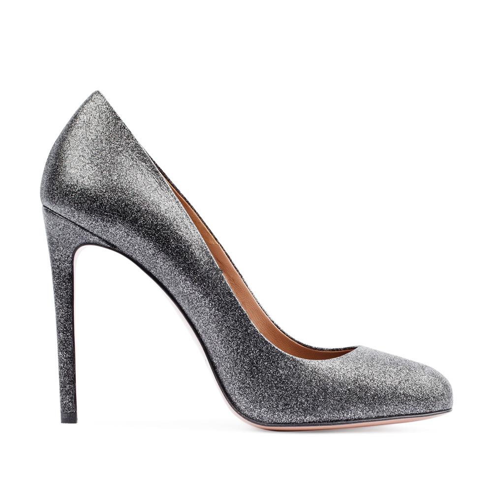 Туфли из кожи серебристого цвета на высоком каблуке